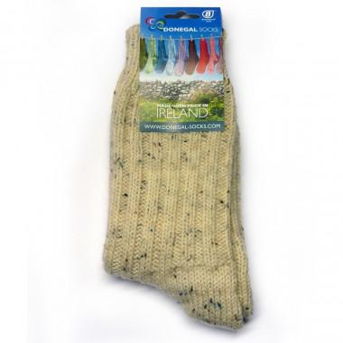 Chaussettes Longues Ecrues/Gris Chiné 100% laine