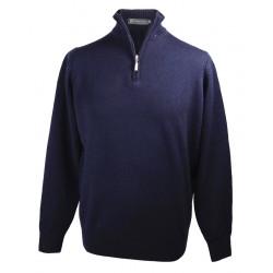 Pull Lambswool ½ Zip Marine Best Yarn