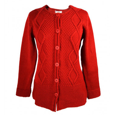 Cardigan Long Rouge Out of Ireland
