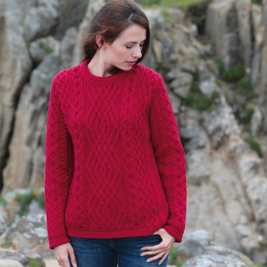 Pull Torsadé Rouge Inis Crafts