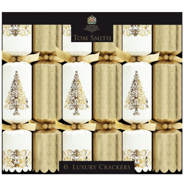 Christmas Crackers Crème & Or Luxury Tom Smith x6