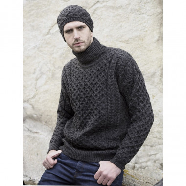 Inis Crafts Anthracite Turtleneck Jumper
