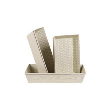 Corbeille rectangle effet bois gm 33x20x7cm