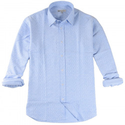 Chemise Bleue à Fleurs Blanches Out Of Ireland