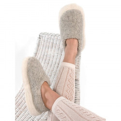 Alwero Light Grey Wool Siberian Slippers