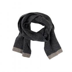 Aran Woollen Mills Anthracite Buttoned Wool Scarf