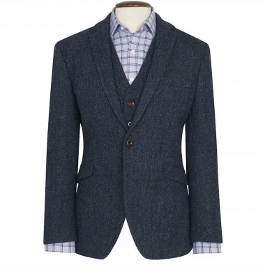 Veste Harris Tweed Stranraer Bleu Brook Taverner