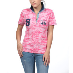 Polo Jersey Rose Imprimé Palmiers Ruckfield