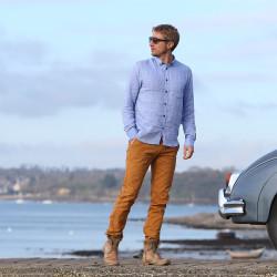 Out Of Ireland 100% Linen Blue Shirt