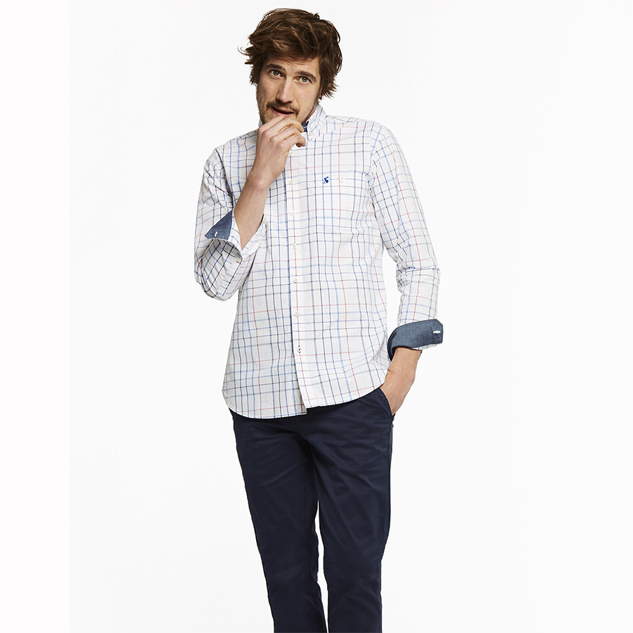 newest 2837a 1a211 Tom Joule Blue White Pink Tattersall Cotton Shirt