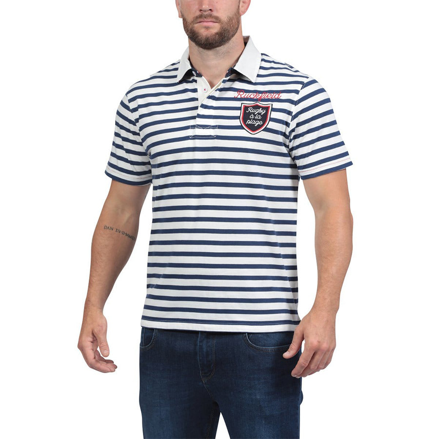 17cd4f2c2f7bf Ruckfield Ecru and Navy Blue Striped Short Sleeves Jersey Polo