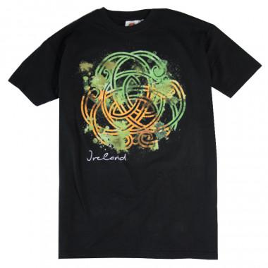 T-Shirt Noir Motif Celte Vert Orange et Blanc