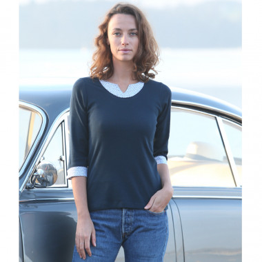 T-Shirt Coton Marine Manches 3/4 Out Of Ireland