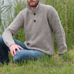 Out Of Ireland Beige High Collar Jumper