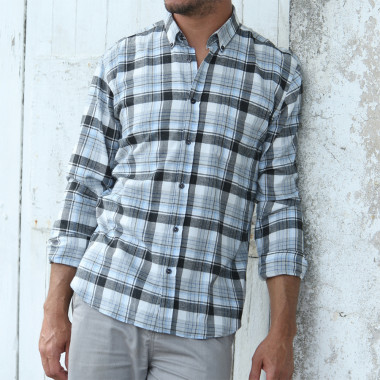 Out of Ireland Grey Black & Blue Checked Shirt