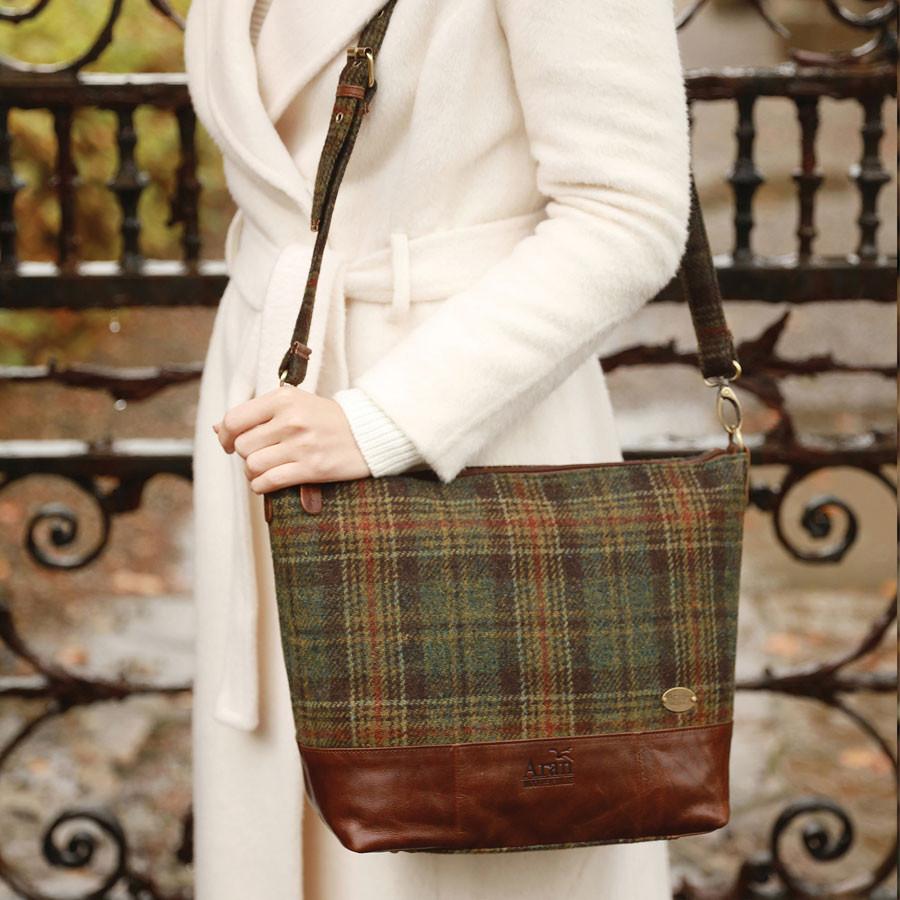 b5e74b724341 Aran Woollen Mills Tartan Green And Leather Tote Bag