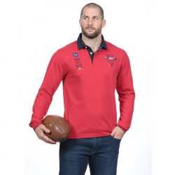 Polo homme manches longues test match rouge ruckfield