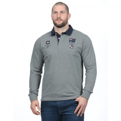Polo homme manches longues test match gris ruckfield