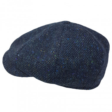Hanna Hats 8 Pieces Flecked Blue Donegal Cap