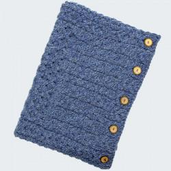 Aran Woollen Mills Mottled Blue Button Snood