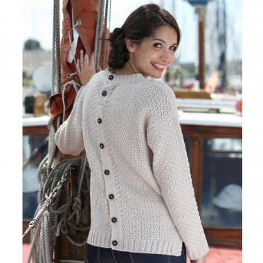 Peregrine Button Back Beige Aran Sweater