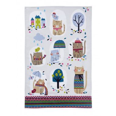Cozy Cats Cotton Tea Towel 48 x 74 cm