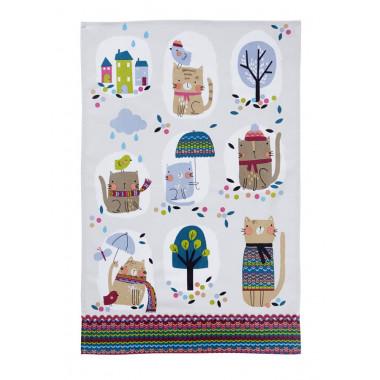 Cozy Cats Cotton Tea Towel 48 x 74 cm