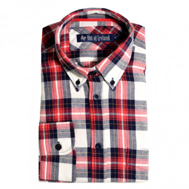 Chemise Carreaux Blanc, Marine et Rouge Out of Ireland