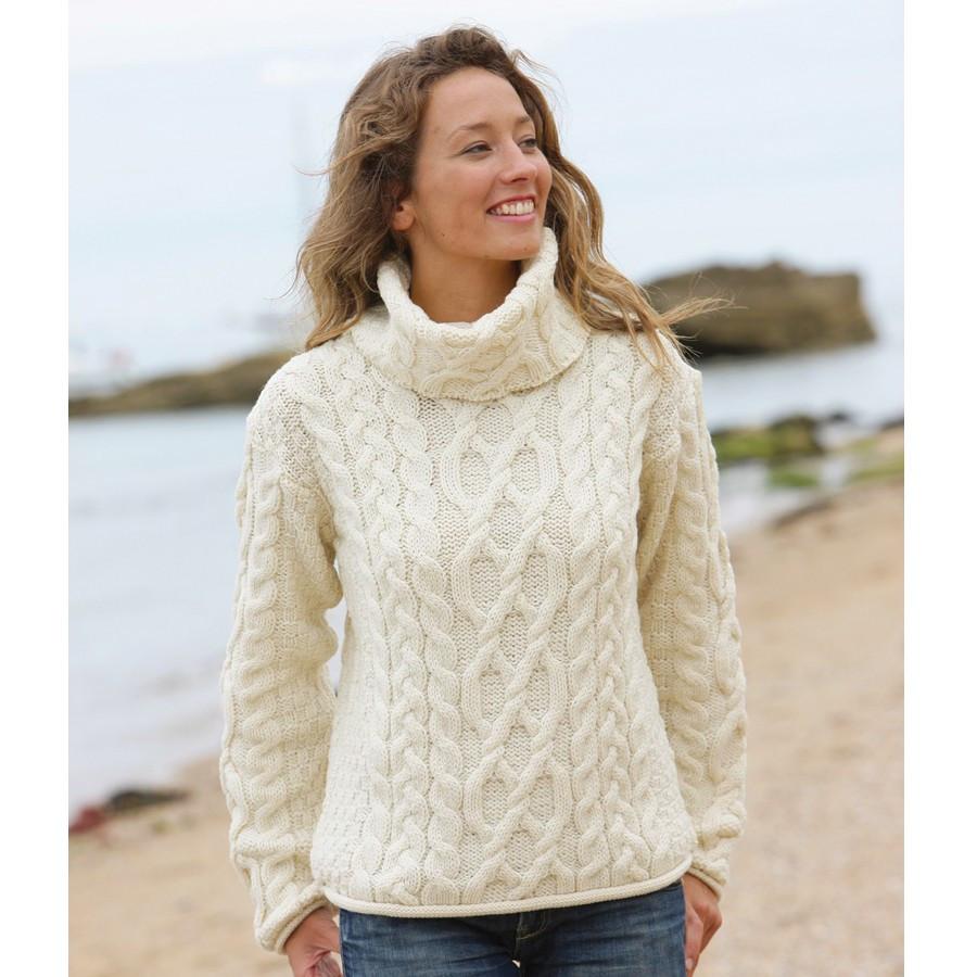 Super Pull col roulé en laine femme - Laine et tricot TC96