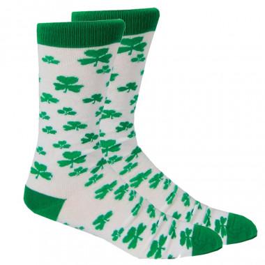 Chaussettes Blanches avec Trèfles Verts