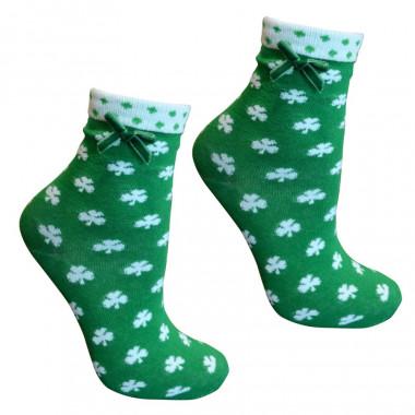 Chaussettes Vertes avec Trèfles Blancs