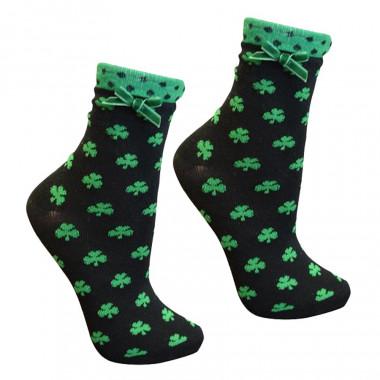 Chaussettes Noires avec Trèfles Verts