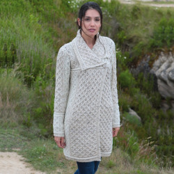 Inis Crafts Oatmeal Cable Knit Coat
