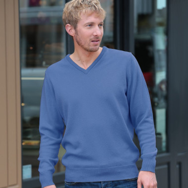 Best Yarn Blue Pure Lambswool V-Neck Jumper