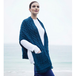 Aran Woollen Mills Blue Shawl with Pockets