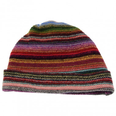 The Scarf Company Multicoloured Striped Lambswool Beanie