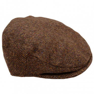 Hanna Hats Brown Tweed Flat Cap