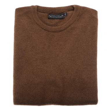 Pull Lambswool Col Rond Marron Celtic Alliance