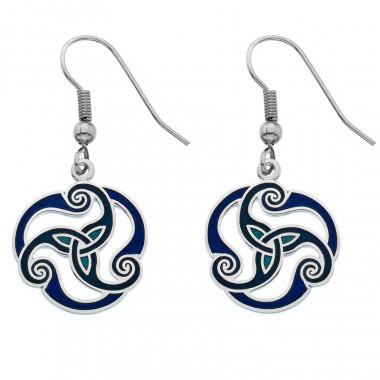 Boucles d'Oreilles Triskel Bleues