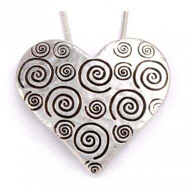 Spiral & Heart Tin Pendant
