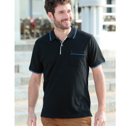 Out Of Ireland Black Stitched Knit Polo Shirt