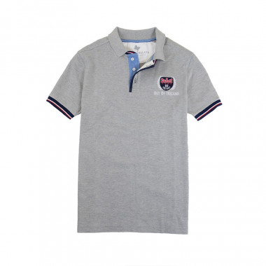 Out Of Ireland Mottled Grey Stitched Knit Polo Shirt