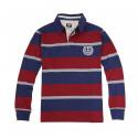 Polo Rayé Bleu et Bordeaux Rugby Nations