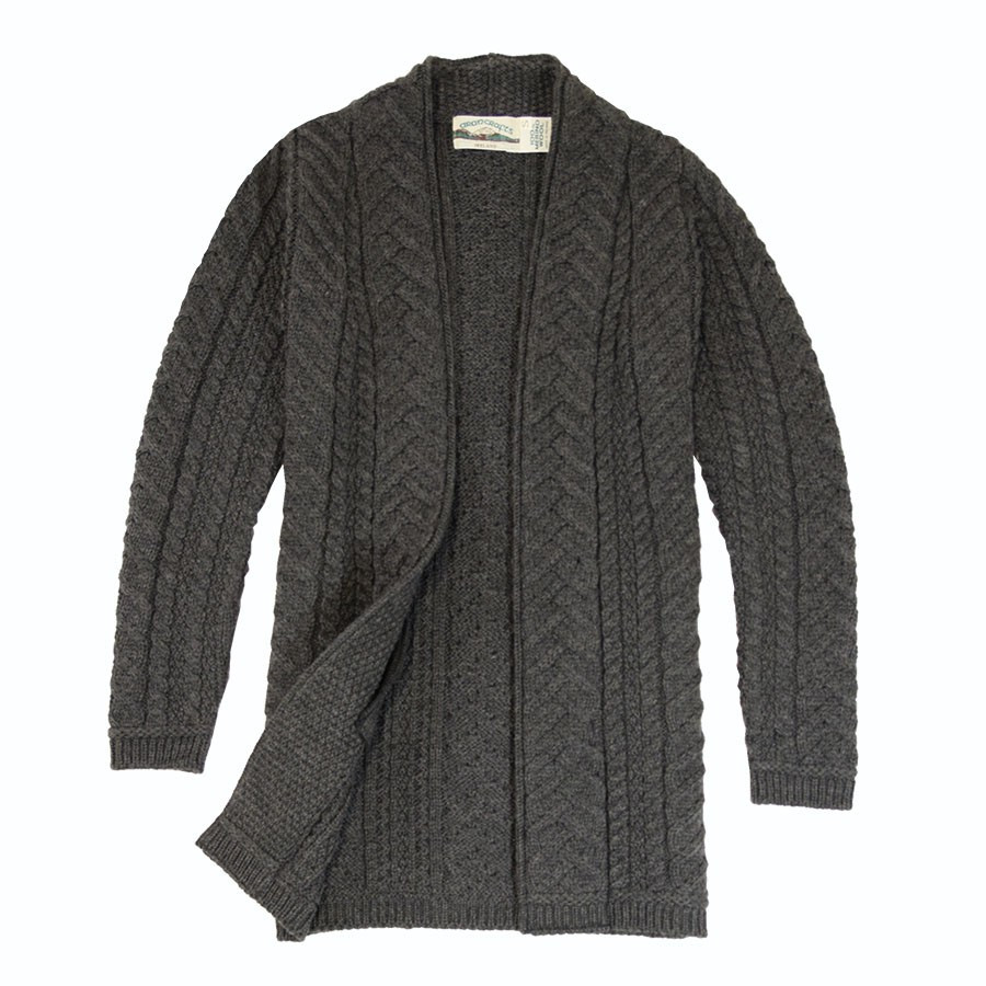 Inis craft long anthracite veste for Inis crafts ireland sweater