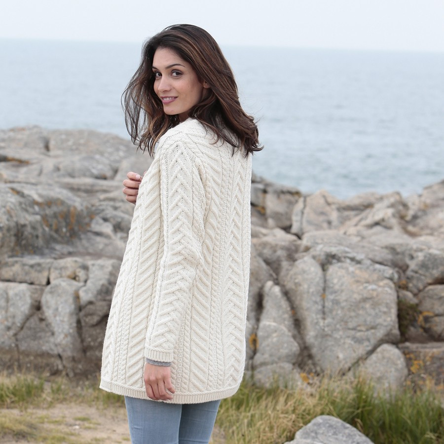 Inis craft long natural open vest for Inis crafts ireland sweater