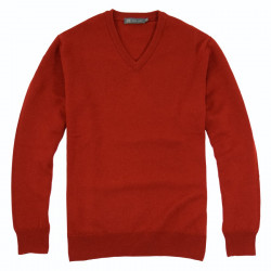 Best Yarn Lambswool V-neck Red Jumper