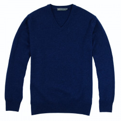 Pull Lambswool V Bleu Foncé Best Yarn