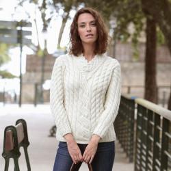 Aran Woollen Mills V Collar Ecru Sweater