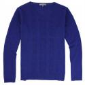 Pull Col V Maille Fine Bleu Best Yarn