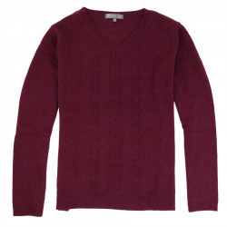 Pull Col V Maille Fine Bordeaux Best Yarn